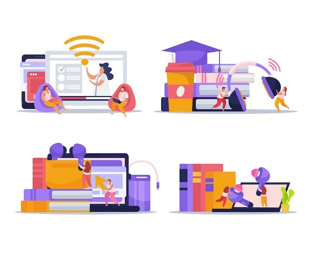 Kompozycje urządzeń bezprzewodowych ze smartfonem, tabletem, laptopem, czytnikiem ebooków, wkładkami dousznymi i słuchawkami