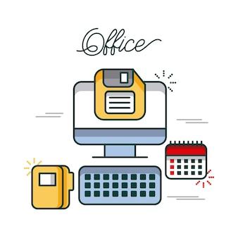 Komputer biurowy kalendarz folder dyskietki pracy