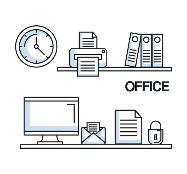 Komputer biurowy poczta papier zabezpieczenia zegar drukarka folderu dostaw
