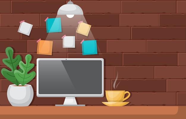 Komputer filiżanka kawy na ilustracji stołu roboczego workbench office