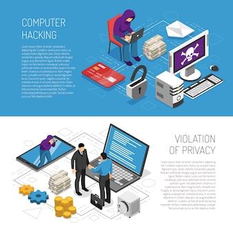 Komputer hakuje izometryczne poziome bannery ustawione z hakerami kradnącymi dane osobowe 3d