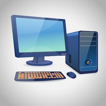 Komputer i peryferyjny niebieski