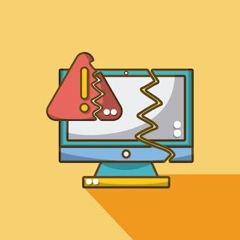 Komputer i tarcza złamana