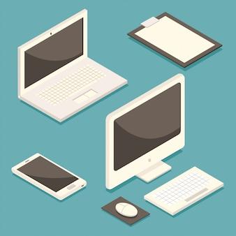 Komputer izometryczny, laptop, telefon komórkowy i schowek. płaski zestaw sprzętu biurowego na białym tle.