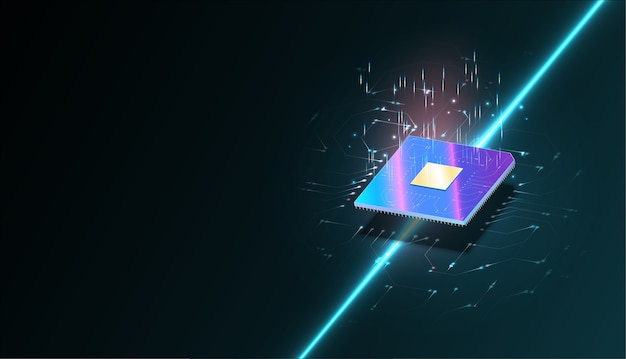 Komputer kwantowy, przetwarzanie dużych danych, koncepcja bazy danych. baner izometryczny procesora. centralne procesory komputerowe