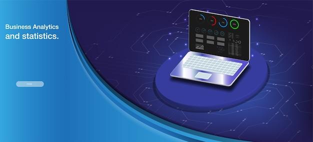 Komputer kwantowy, przetwarzanie dużych danych, koncepcja bazy danych. baner izometryczny procesora.