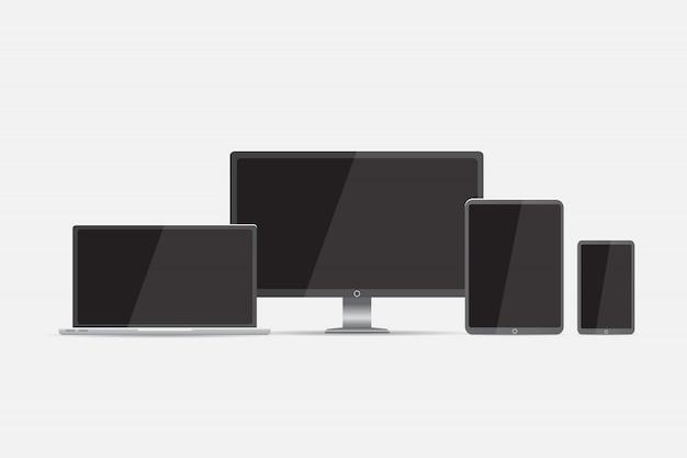 Komputer. monitor lcd, laptop, tablet, telefon komórkowy