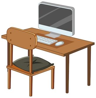 Komputer na biurku na białym tle