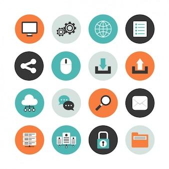 Komputer okrągłe zestaw ikon