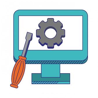 Komputer pomocy technicznej z narzędziami niebieskie linie