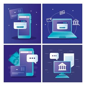 Komputer przenośny ze smartfonem i strona internetowa z przyciskiem zapłać teraz