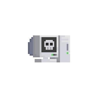 Komputer stacjonarny pixel z czaszką na ikonie ekranu.