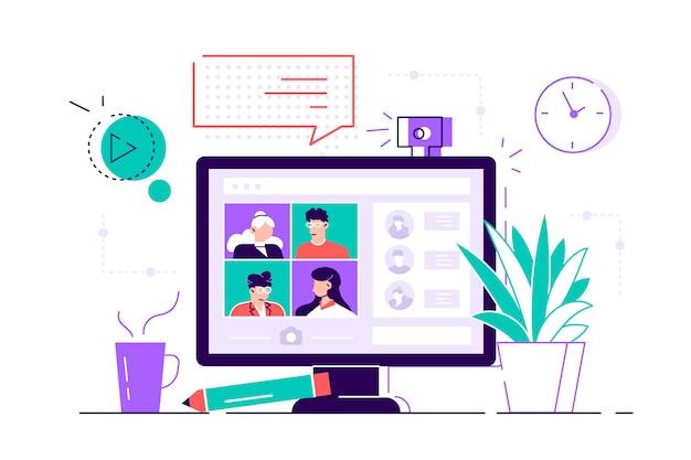 Komputer stacjonarny z grupą współpracowników biorących udział w wideokonferencji. oprogramowanie do wideokonferencji i komunikacji online. wirtualne spotkanie robocze. płaski nowoczesny styl ilustracji dla sieci web