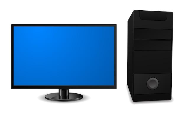 Komputer stacjonarny z ikoną monitora lcd
