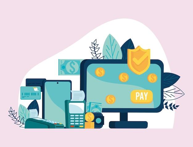 Komputer stacjonarny z transakcją mobilną