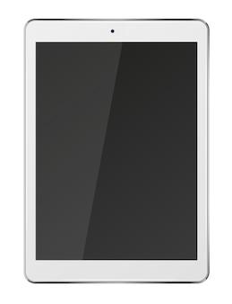 Komputer typu tablet z czarnym ekranem na białym tle