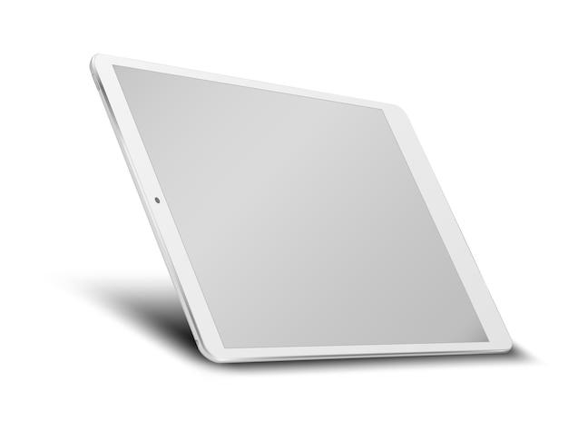 Komputer typu tablet z pustym ekranem na białym tle.