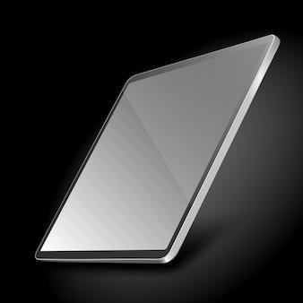 Komputer typu tablet z pustym ekranem na ciemnym tle.