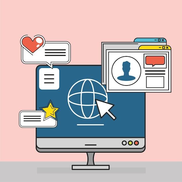Komputer w mediach społecznościowych klikający świat