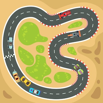 Komputer wyścigowy i tło gry aplikacji z widok z góry samochody sportowe i tor wyścigowy.