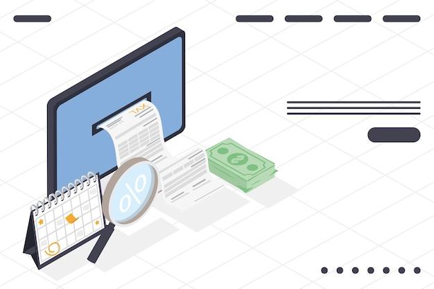 Komputer z ikonami podatków