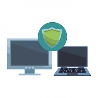 Komputer z informatycznym symbolem bezpieczeństwa