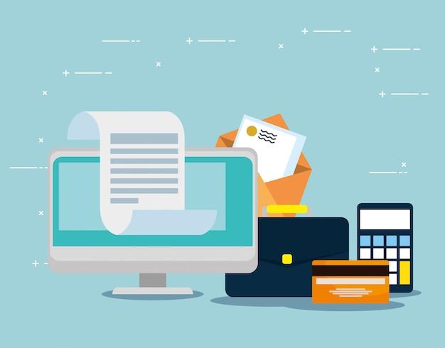 Komputer z kartą kredytową i wiadomości listowe