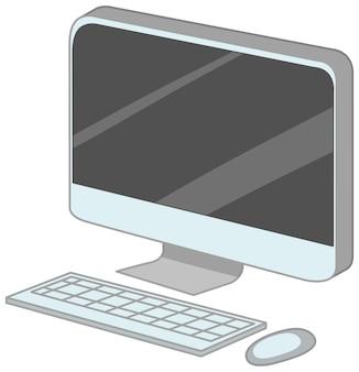 Komputer z klawiaturą i myszą stylu cartoon na białym tle