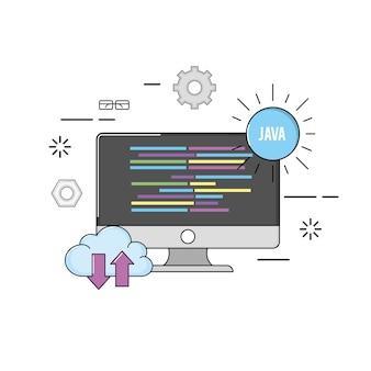 Komputer z kodem programującym dane oprogramowania