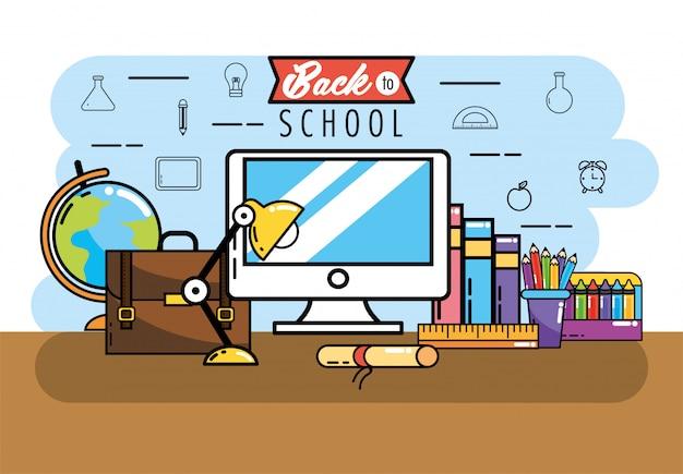 Komputer z książek i ołówków kolory do szkoły