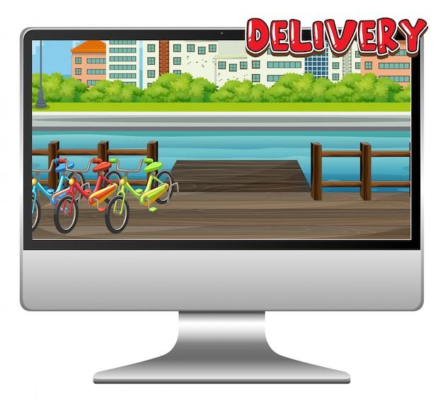 Komputer z logo dostawy