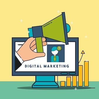 Komputer z marketingiem cyfrowym dłoni megafonem