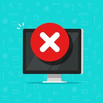 Komputer z ostrzeżeniem o błędzie lub ostrzeżeniem o alarmie