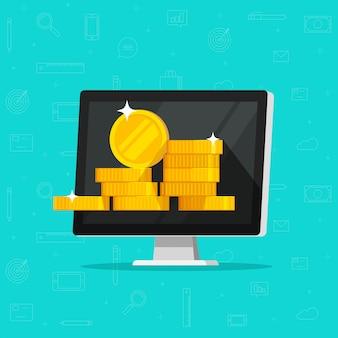 Komputer z pieniądze lub internetem zarabia ilustracyjną płaską kreskówkę