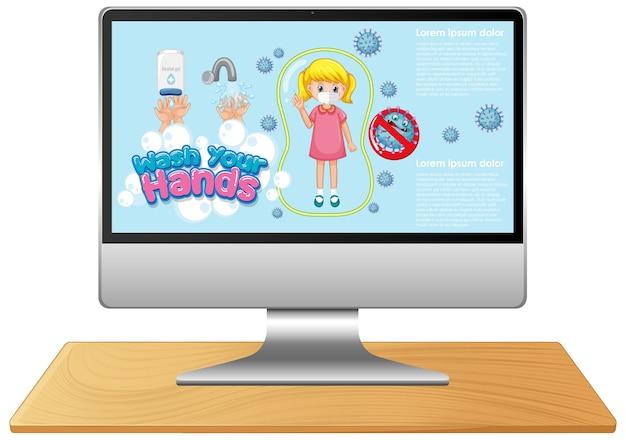 Komputer z ręcznym praniem na ekranie
