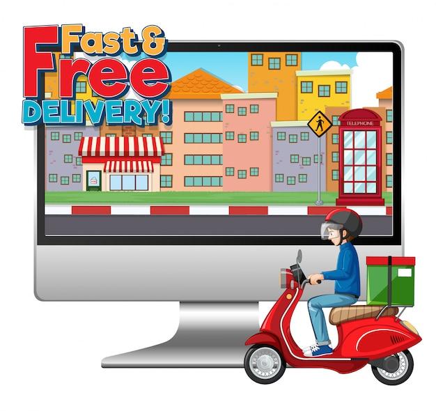 Komputer z rowerzystą lub kurierem oraz logo szybkiej i bezpłatnej dostawy