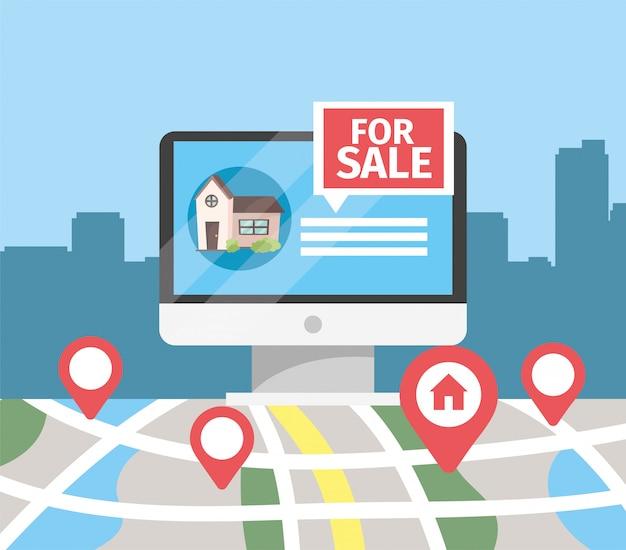 Komputer z sprzedażą domu i lokalizacją mapy