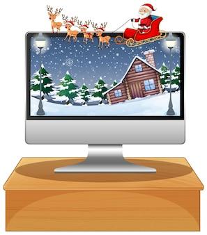 Komputer z tłem pulpitu motywu boże narodzenie zima