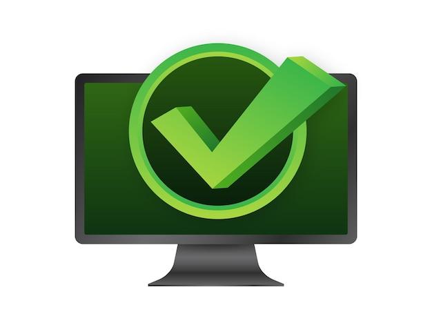 Komputer z zaznaczeniem lub zaznaczeniem powiadomienia w bańce. zatwierdzony wybór. zaakceptuj lub zatwierdź znacznik wyboru. ilustracja wektorowa.