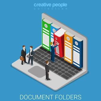 Komputerowe foldery archiwum dokumentów płaskie izometryczne