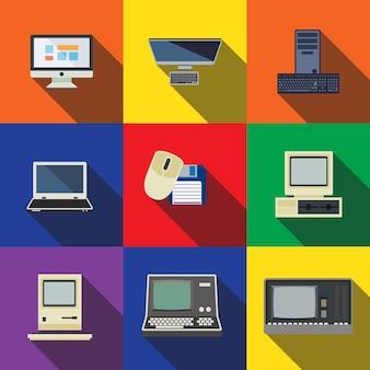 Komputerowe płaskie ikony zestaw elementów, edytowalne ikony, mogą być używane w logo, interfejsie użytkownika i projektowaniu stron internetowych