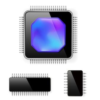 Komputerowy mikroukład na białym tle