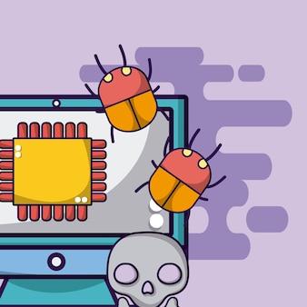 Komputerowy procesor z błędami i wirusem