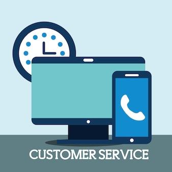 Komputerowy smartfon zegar czasu online obsługa klienta