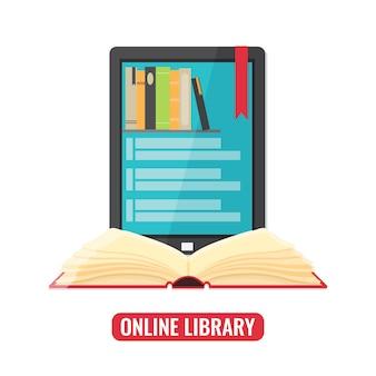 Komputerowy tablet z aplikacją mobilną czytnika książek i otwartą książką.