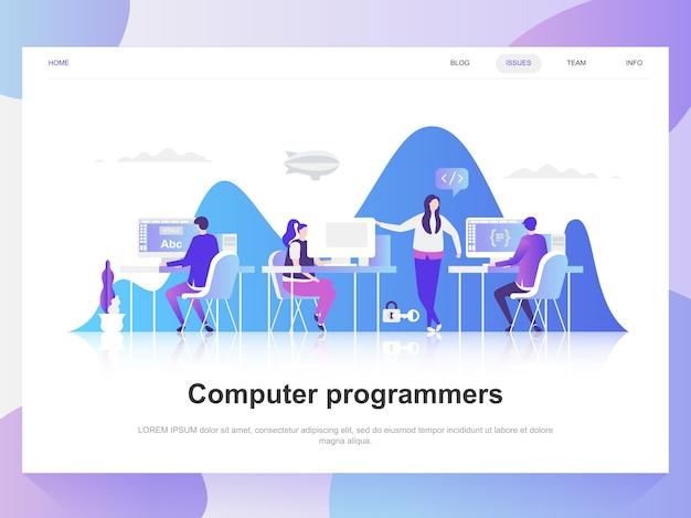 Komputerowych programistów nowożytna płaska projekt koncepcja.