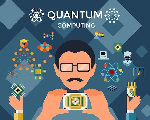 Komputery kwantowe z infografikami inżynierów i fizyków