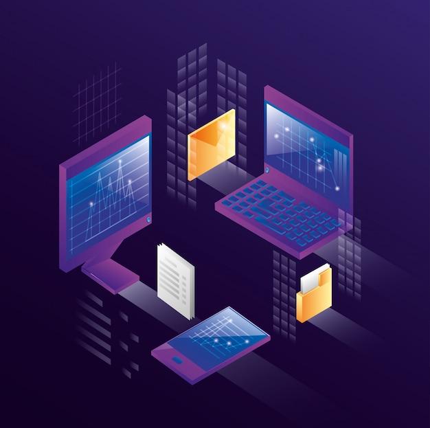 Komputery z ikonami centrum danych