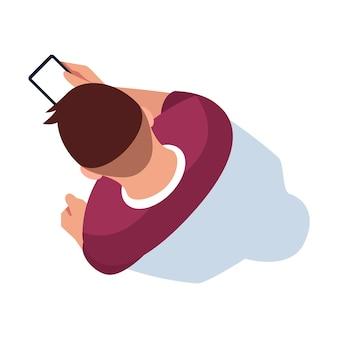 Komunikacja bezprzewodowa ilustracja wektorowa pół płaski kolor rgb. człowiek posiadający telefon. osoba patrząca na wyświetlacz smartfona. przeglądaj online. mężczyzna na białym tle widok z góry postaci z kreskówek na białym tle