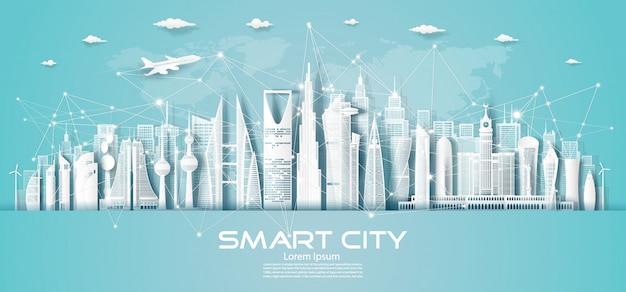 Komunikacja bezprzewodowa inteligentne miasto i technologia sieciowa na bliskim wschodzie.